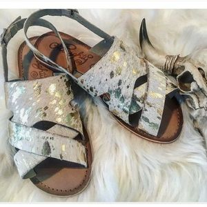 Gold Cowhide Sandals